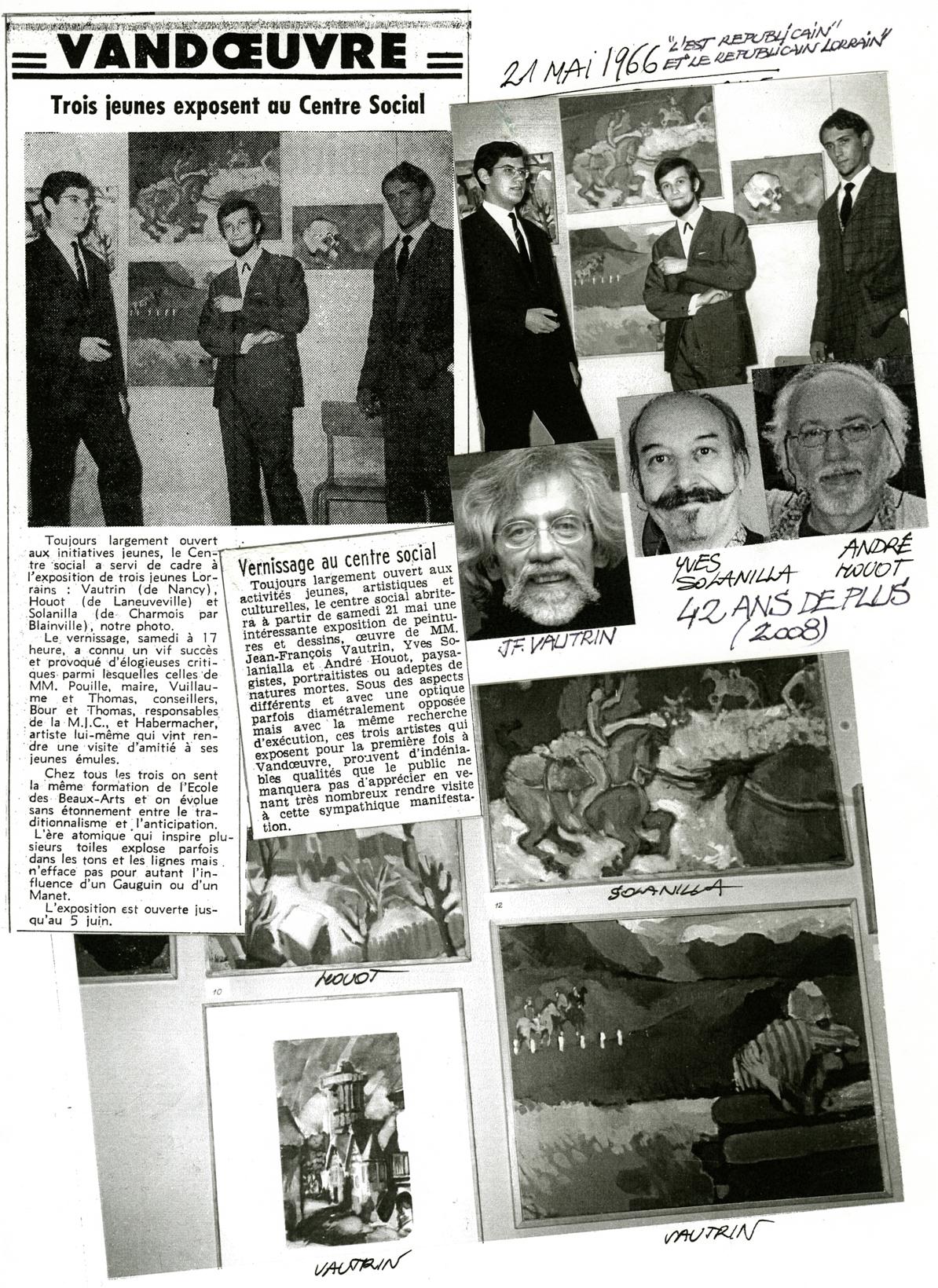 1966 Journal Vandoeuvre. Expo Vautrin, Solanilla, Houot