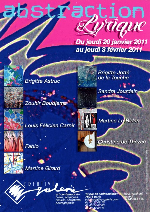 """Créative Galerie Exposition """"Abstraction lyrique"""" 2011"""