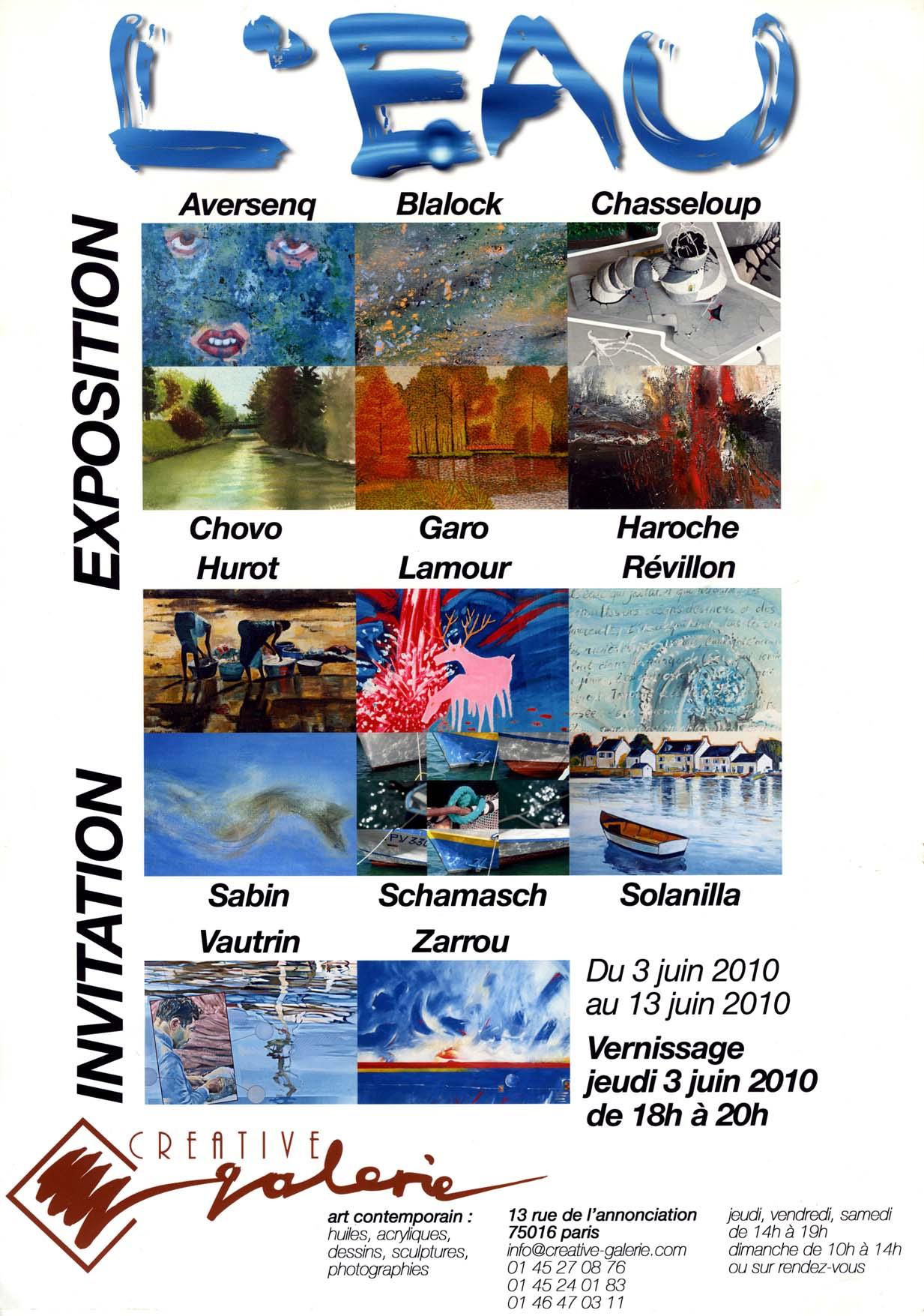 """Créative Galerie Exposition """"L'EAU"""" 2010"""